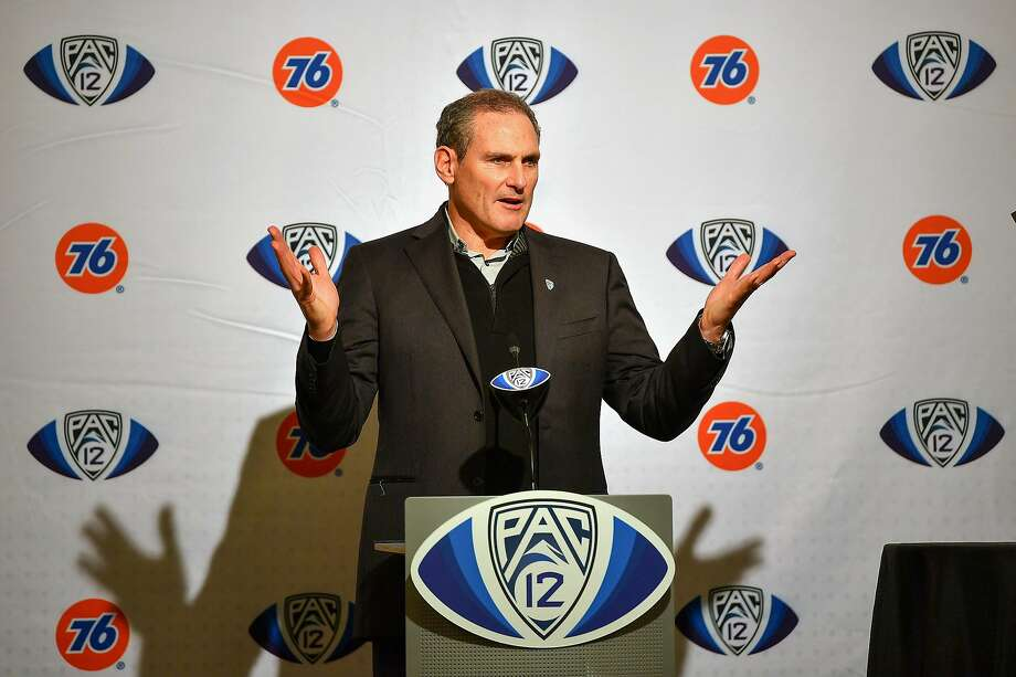 FILE PHOTO: Pac-12 Commissioner Larry Scott attends the pre-game press conference before the Pac-12 Championship football game between the Oregon Ducks and the Utah Utes at Levi's Stadium on Dec. 6, 2019 in Santa Clara, Calif. The Pac-12 Conference announced Tuesday, Aug. 11, 2020, that it has postponed the 2020 football season because of safety concerns stemming from the novel coronavirus pandemic. Photo: Alika Jenner / Getty Images