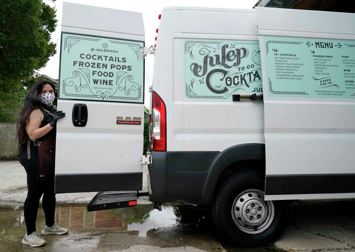 Alba Huerta, owner of Julep, 1919 Washington Ave., has added a cocktail delivery truck as she tries to survive the bar shutdown amid the coronavirus pandemic shown Saturday, July 25, 2020, in Houston.