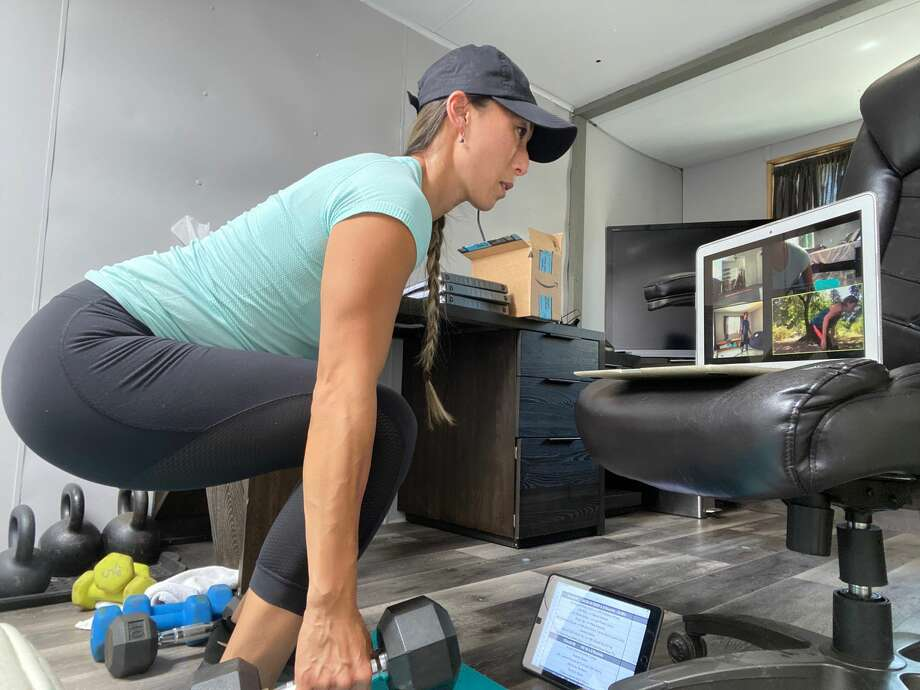 Gin Dietz of Morgan Hill posts fitness content on social media, with the added challenge of looking after her two children during the pandemic. Photo: Courtesy Of Gin Dietz