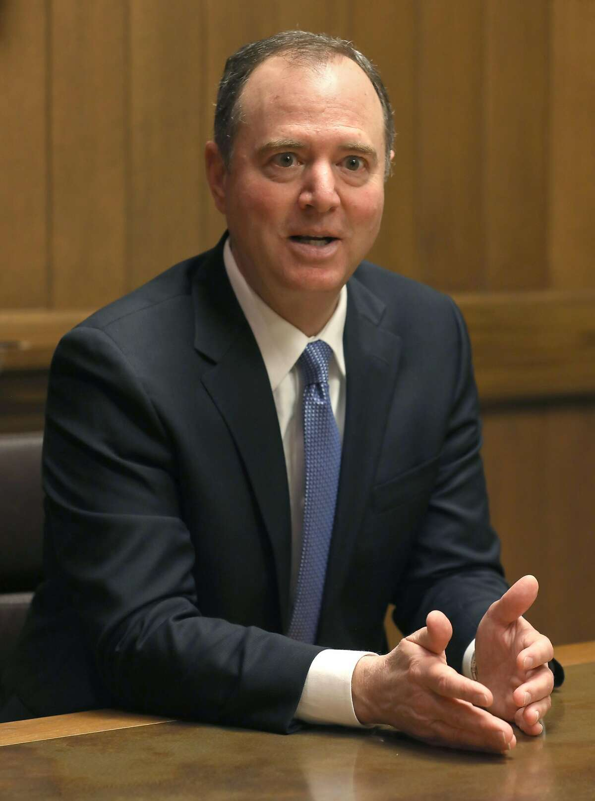 Rep. Adam Schiff, D-Calif., talks to the San Francisco Chronicle editorial board, at the newspaper on Friday, March 22, 2019, in San Francisco, Calif.