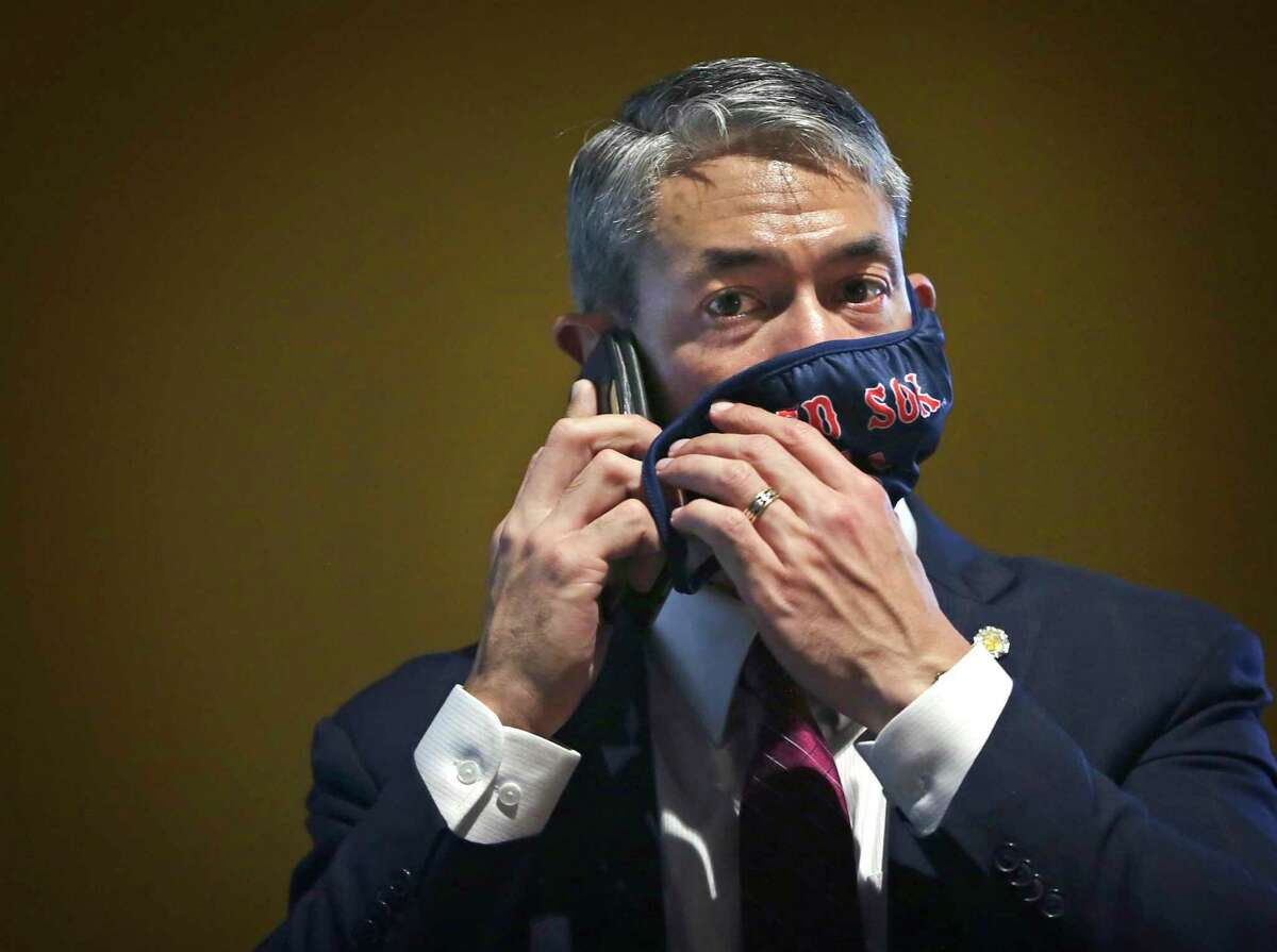 Mayor Ron Nirenberg, seen adjusting his mask as he takes a phone call, has found himself under attack by environmentalists.