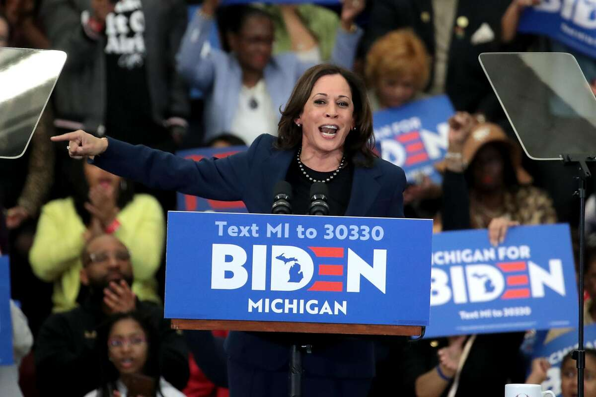 FILE - AUGUST 11, 2020: Presumptive Democratic presidential nominee former Vice President Joe Biden has announced Senator Kamala Harris as his Vice Presidential running mate in the 2020 election. DETROIT, MICHIGAN - MARCH 09: Sen. Kamala Harris (D-CA) introduces Democratic presidential candidate former Vice President Joe Biden at a campaign rally at Renaissance High School on March 09, 2020 in Detroit, Michigan. Michigan will hold its primary election tomorrow. (Photo by Scott Olson/Getty Images)