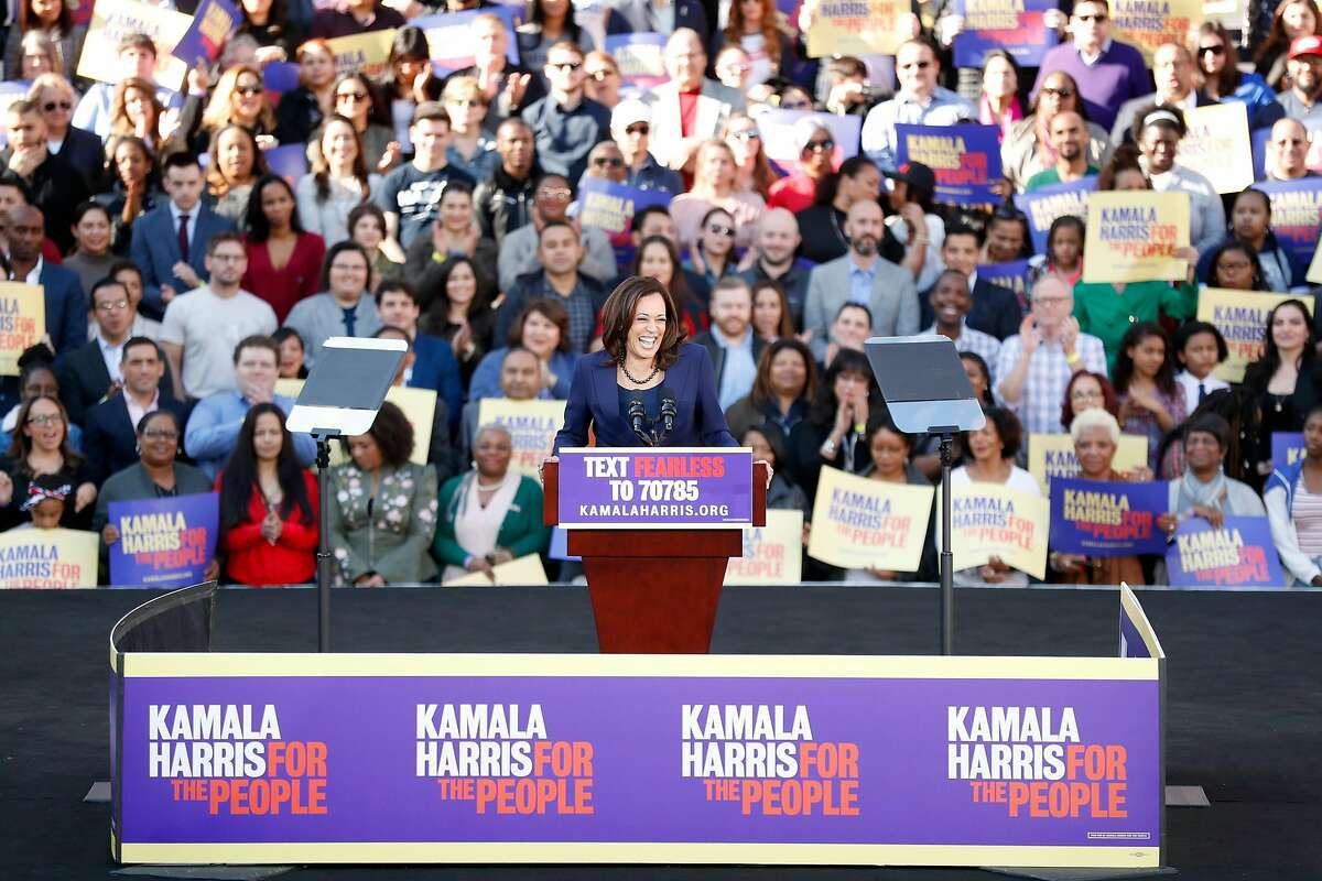 California Senator Kamala Harris launches her presidential campaign at a rally at Frank Ogawa Plaza in Oakland, Calif., on Sunday, January 27, 2019.