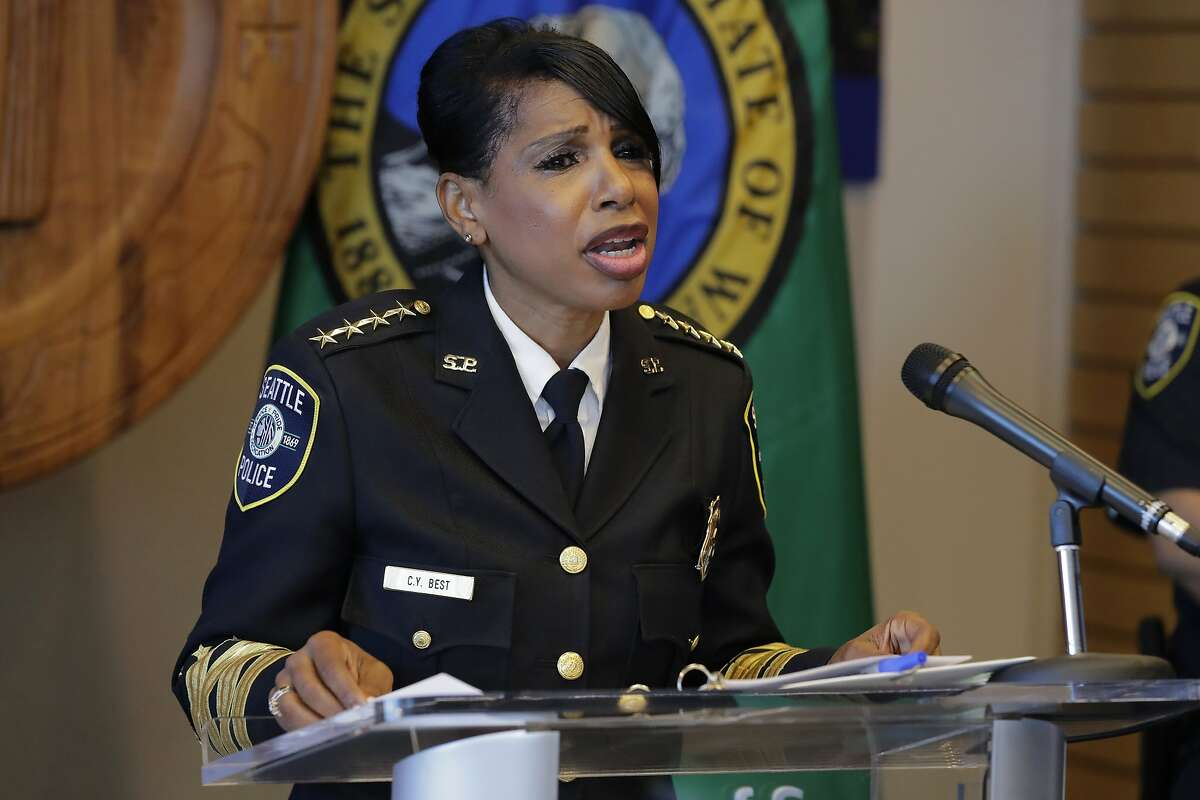 Seattle Police Chief Carmen Best speaks during a news conference, Tuesday, Aug. 11, 2020, in Seattle. Best, the first Black woman to lead Seattle's police department, announced she will be stepping down in September following cuts to her budget that would reduce the department by as many as 100 officers.