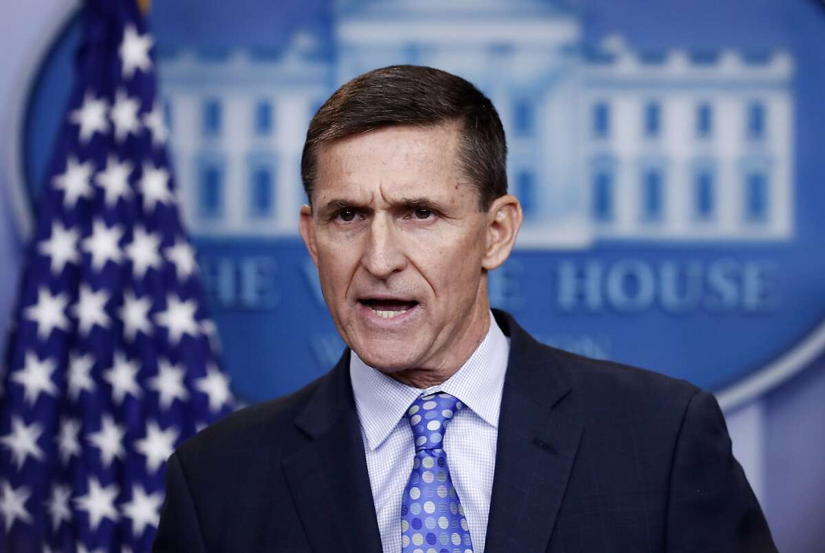 FILE - In this Feb. 1, 2017 file photo, National Security Adviser Michael Flynn speaks during the daily news briefing at the White House, in Washington. A federal appeals court hears arguments on whether a judge can be ordered to dismiss the criminal case against former Trump administration national security adviser Michael Flynn now that the Justice Department no longer wants to pursue it. (AP Photo/Carolyn Kaster)