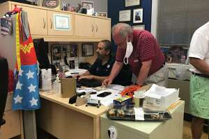 Stratford Democratic Registrar of Voters Rick Marcone works in his office Aug. 11, 2020