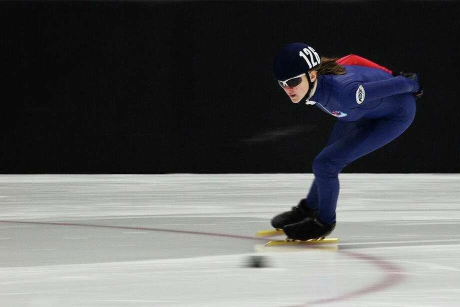 Midland's Ella Trosin competes during the U.S. Speedskating Short Track Age Class Nationals at the Midland Civic Arena in 2017. (Daily News file photo)
