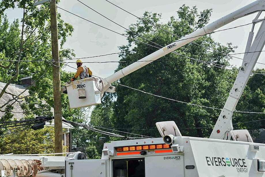 """A week after Isaias tore through Connecticut, Eversource met its goal of """"substancially restoring"""" power to 99 percent of its customers by midnight Tuesday. Yet on Wednesday, Aug. 12, 2020, more than 1,700 Eversource customers still have no power. Photo: Eversource Photo"""
