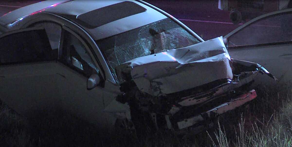 San Antonio police arrived on the scene to find a wrecked vehicle on a grassy median between 5752 and 6198 N Loop 1604 E. about 2:27 a.m. Aug. 12, 2020. A man inside the vehicle was dead.