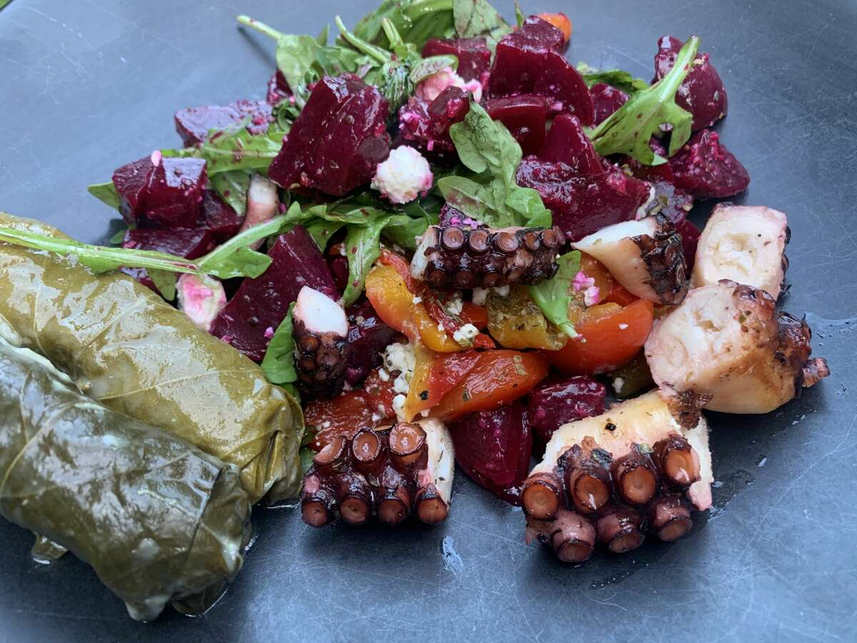 Beet salad from Athos restaurant, topped with grilled octopus.