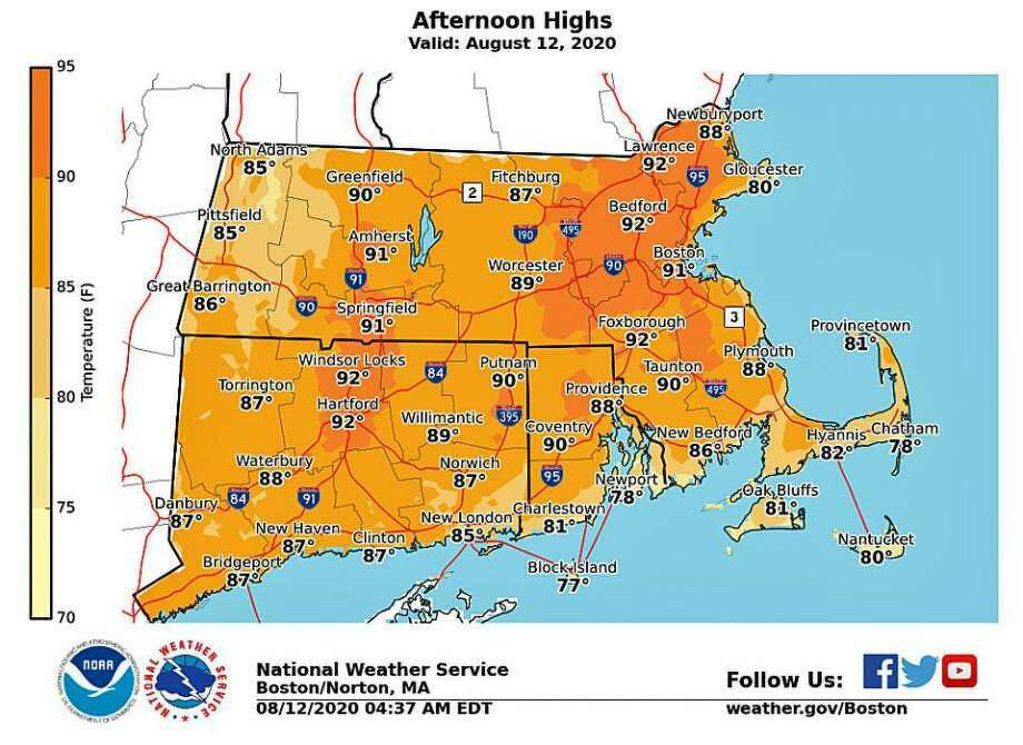 National Weather service graphic show hot temperatures today. Photo: National Weather Service