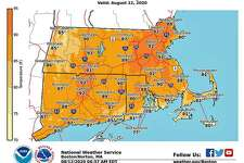 National Weather service graphic show hot temperatures today.
