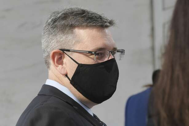 Michael Mann, the ex-MyPayrollHR CEO, enters U.S. District Court on Wednesday, Aug. 12, 2020, in Albany, N.Y. (Paul Buckowski/Times Union)