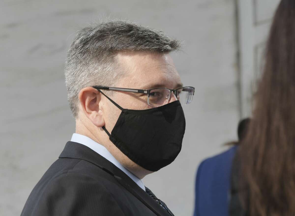 Michael Mann, the ex-MyPayrollHR CEO, enters U.S. District Court on Wednesday, Aug. 12, 2020, in Albany, N.Y. Mann will be sentenced in the same building on Aug. 4, 2021.(Paul Buckowski/Times Union)
