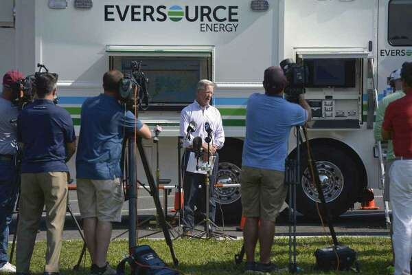 Eversource President of Regional Electric Operations Craig Hallstrom speaks to the media at the Eversource satellite command center at the Danbury Welcome Center on I-84 in Danbury, Conn, Tuesday, August 11, 2020.