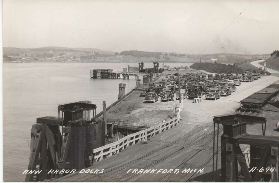 A view of the west ferry dock taken from the boat showing cars waiting to load in the late 1930s. (Courtesy Photo)