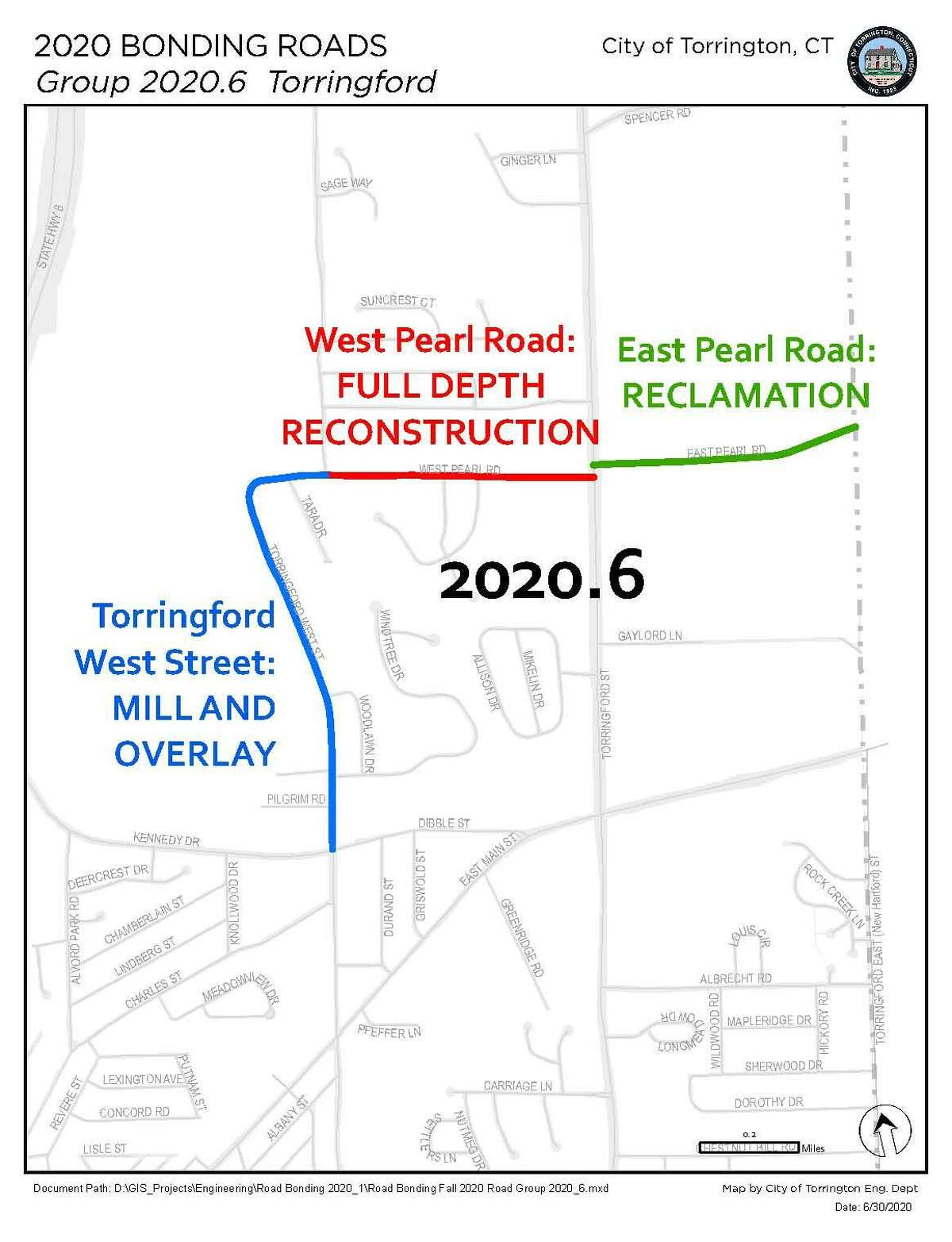 Torrington is starting a resurfacing project Thursday on various roads. Officials say the project will continue through November.