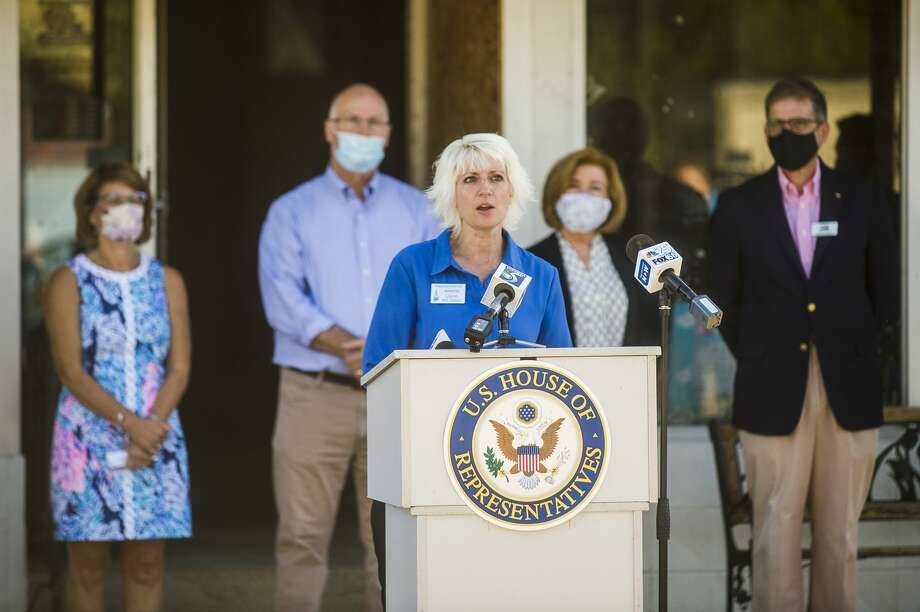 State Rep. Annette Glenn speaks during a press conference Wednesday, Aug. 12, 2020 in downtown Sanford highlighting USDA resources available for flood victims. (Katy Kildee/kkildee@mdn.net) Photo: (Katy Kildee/kkildee@mdn.net)