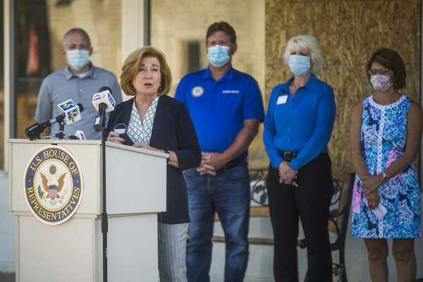 Bette Brand, Deputy Undersecretary for Rural Development at the United States Department of Agriculture, speaks during a press conference Wednesday, Aug. 12, 2020 in downtown Sanford highlighting USDA resources available for flood victims. (Katy Kildee/kkildee@mdn.net)