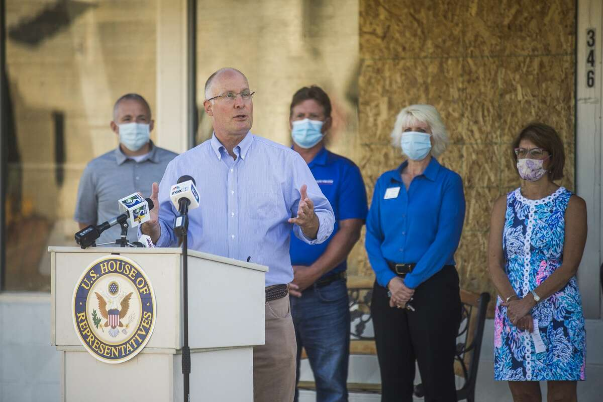 U.S. Rep. John Moolenaar speaks during a press conference Wednesday, Aug. 12, 2020 in downtown Sanford highlighting USDA resources available for flood victims. (Katy Kildee/kkildee@mdn.net)
