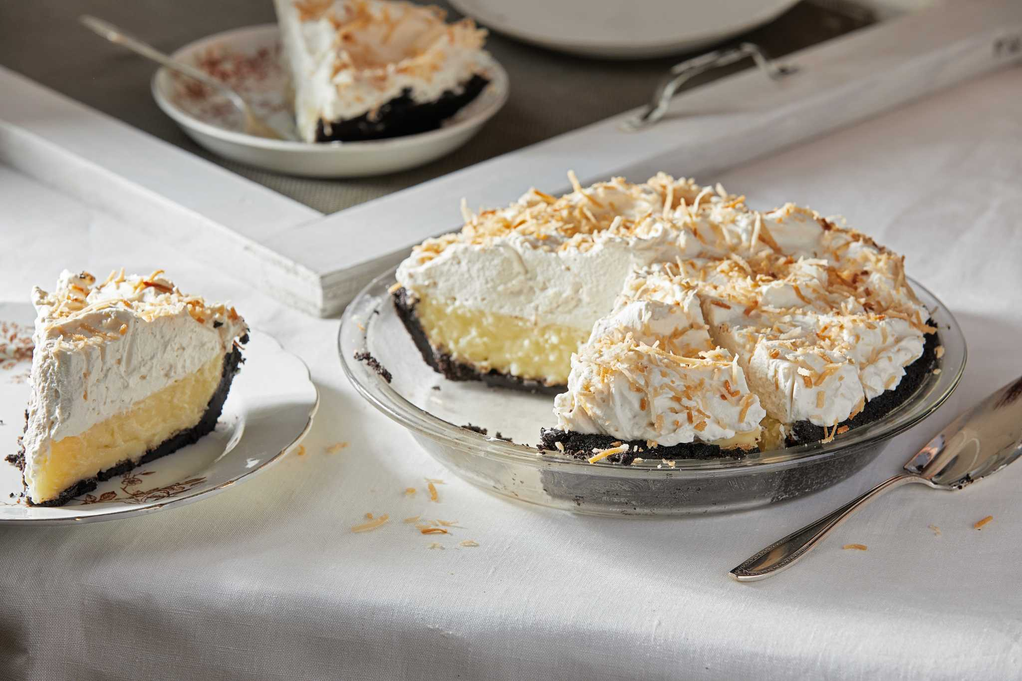 This no-bake coconut cream pie plays it cool with a chocolate cookie crust