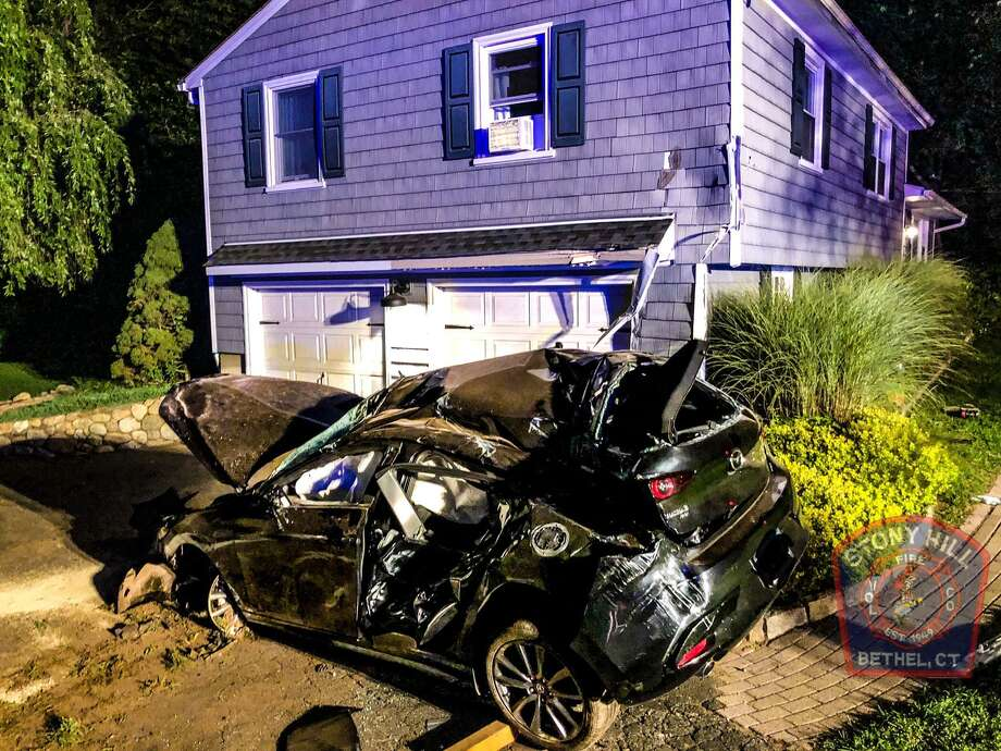 The scene of the crash on Benedict Road in Bethel, Conn., Aug. 12, 2020. Photo: Facebook / Stony Hill Volunteer Fire Company