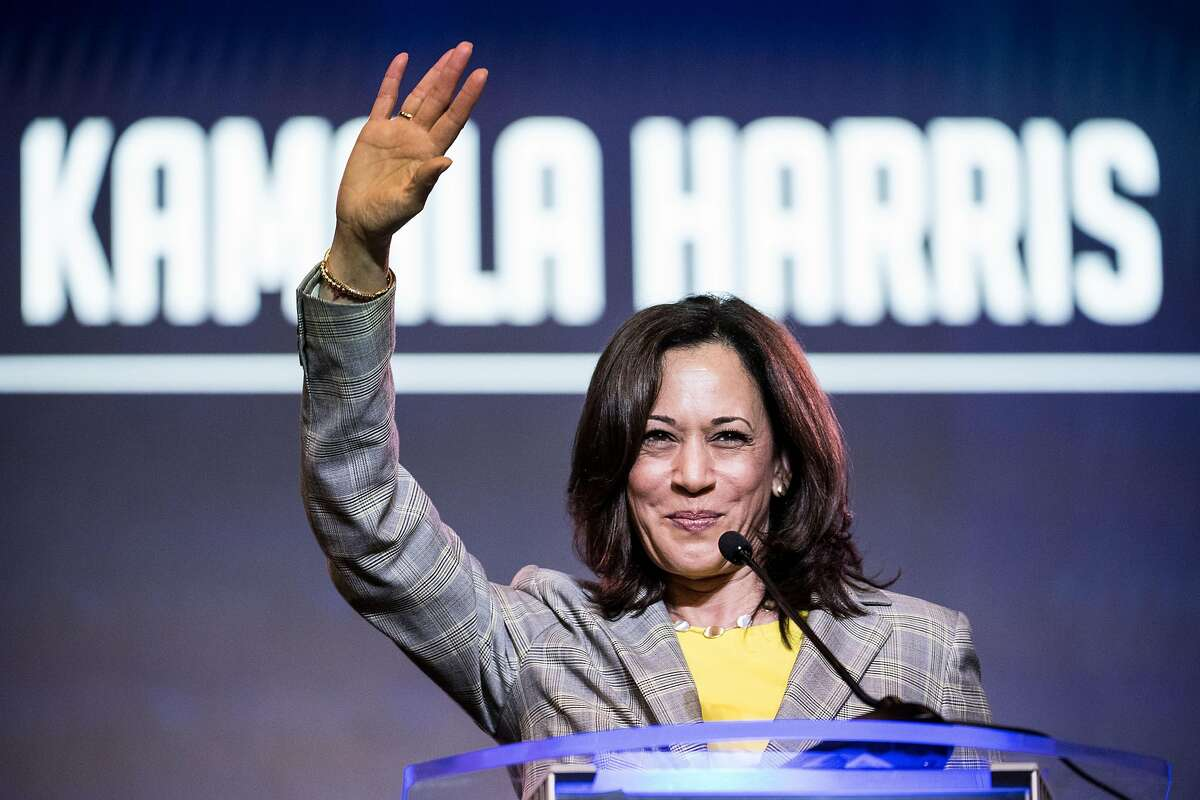 FILE - AUGUST 11, 2020: Presumptive Democratic presidential nominee former Vice President Joe Biden has announced Senator Kamala Harris as his Vice Presidential running mate in the 2020 election. COLUMBIA, SC - JUNE 22: Democratic presidential candidate, Sen. Kamala Harris (D-CA) addresses the crowd at the 2019 South Carolina Democratic Party State Convention on June 22, 2019 in Columbia, South Carolina. Democratic presidential hopefuls are converging on South Carolina this weekend for a host of events where the candidates can directly address an important voting bloc in the Democratic primary. (Photo by Sean Rayford/Getty Images)