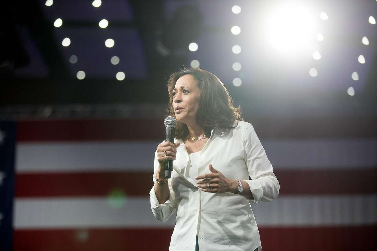 Democratic presidential candidate Sen. Kamala Harris speaks at the Presidential Gun Sense Forum in Des Moines on Saturday, Aug. 10, 2019.