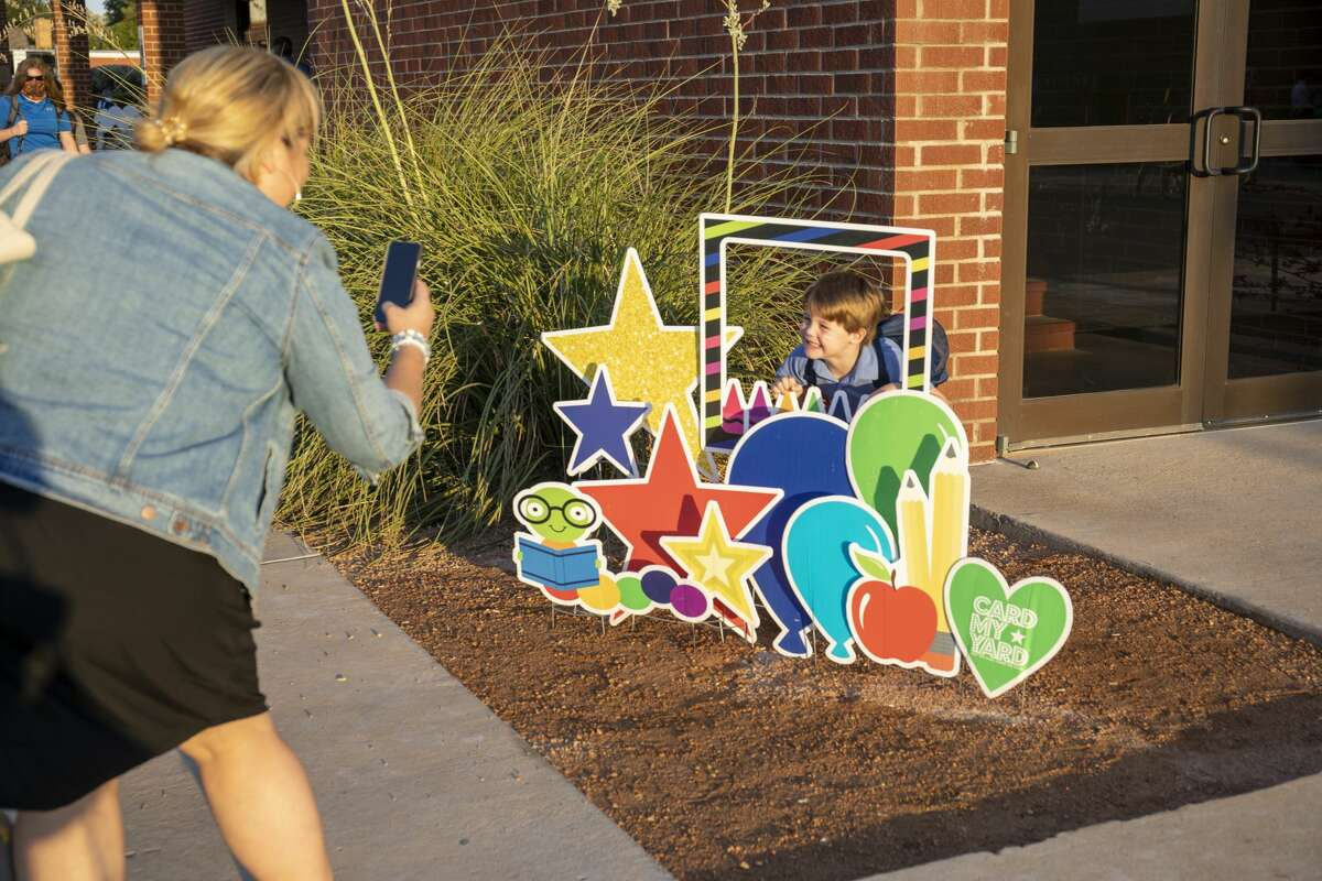 Pre-kindergarten student James Richert poses for a picture Wednesday, Aug. 12, 2020 at Midland Christian School.