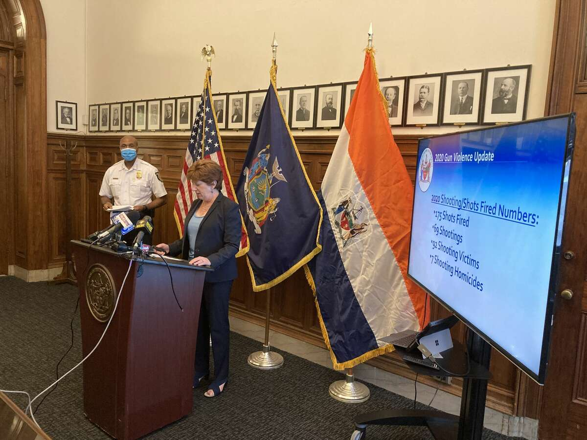 Mayor Kathy Sheehan and Police Chief Eric Hawkins discussed the city's recent response to gun violence in the city at City Hall on Tuesday.