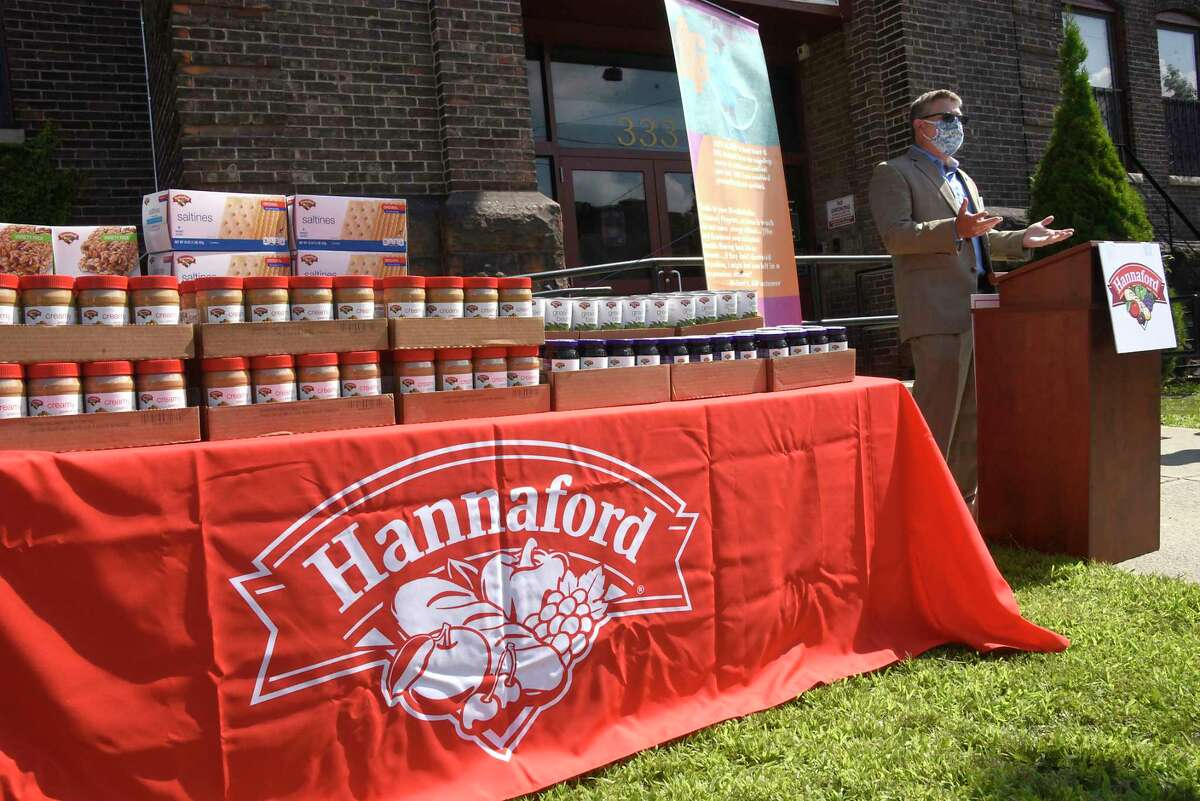 Andy Willette, director of operations, Hannaford Supermarkets, speaks during an event announcing the generous gift from Hannaford Supermarkets of $100,000 to support Capital Region families and children impacted by COVID-19 on Wednesday, Aug. 12, 2020 in Albany, N.Y. The donation, presented in front of Albany Community Action Partnership, includes $50,000 each to Albany Community Action Partnership and Schenectady Community Action Program. (Lori Van Buren/Times Union)