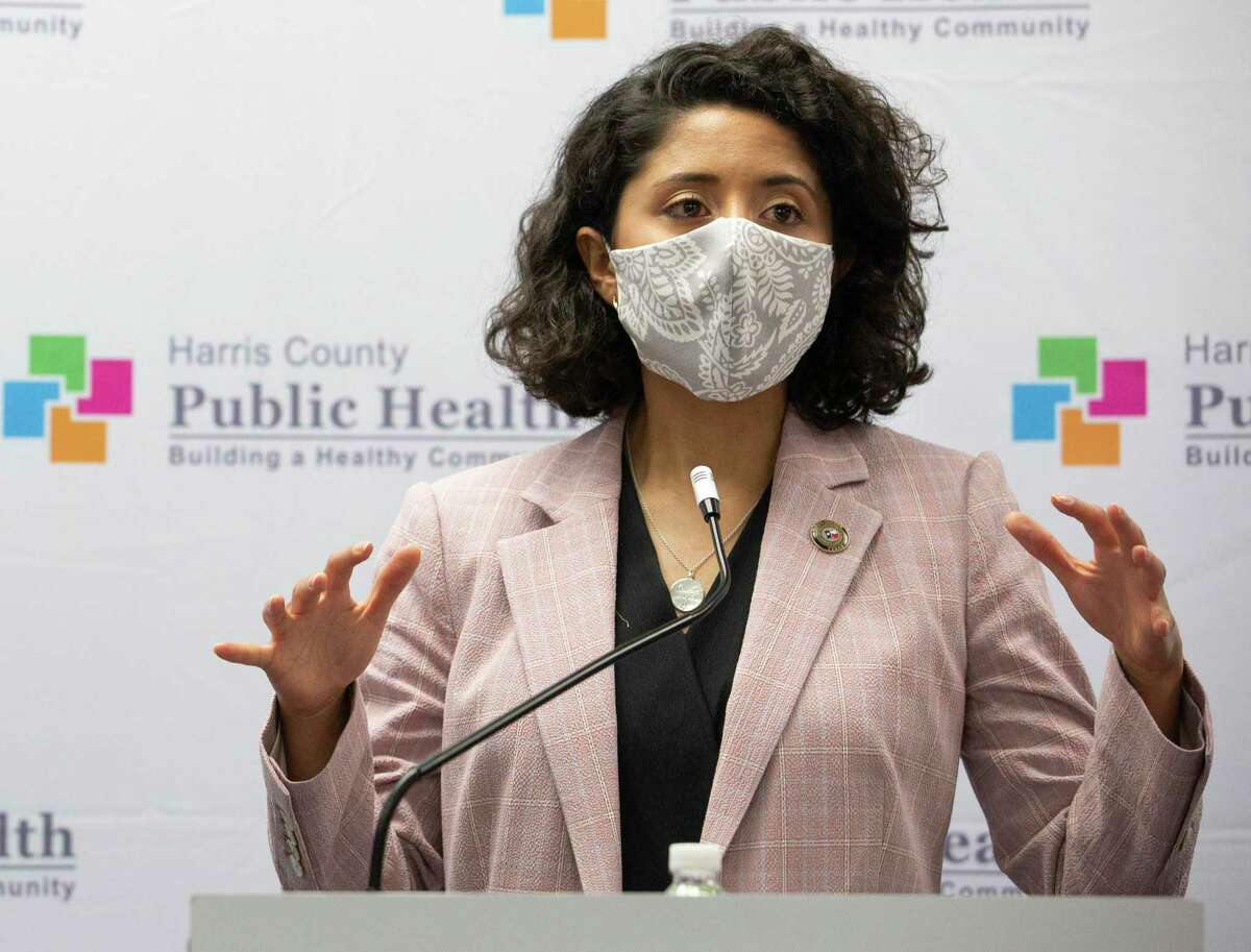 Harris County Judge Lina Hidalgo answers questions during a press conference after meeting the newest class of the contact tracers May 13 at Harris County Public Health Department in Houston.
