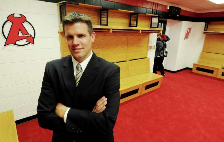 New Albany Devils head coach Rick Kowalsky stands in the team's new locker room in Times Union Center in Albany. Photo: Luanne M. Ferris