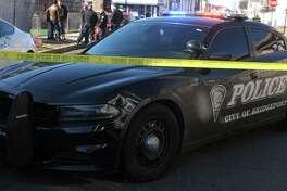 File photo of a Bridgeport police cruiser at a crime scene in Bridgeport, Conn., taken on Feb. 14, 2020.