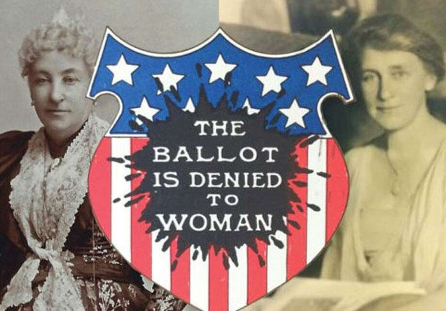 """Thanks to a grant from the Elizabeth Raymond Ambler Trust, the Wilton Historical Society is hosting an online exhibit called """"Citizens At Last: Hannah Ambler, Grace Schenck, and the Vote,"""" at the end of August. Photo: Contributed Graphic"""