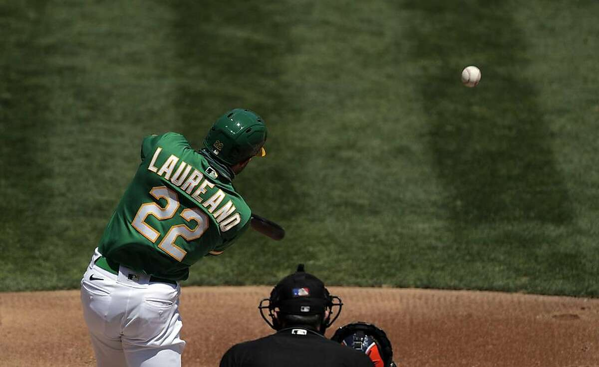 Ramon Laureano (22) during an at-bat as the Oakland Athletics and Houston Astros at the Coliseum in Oakland, Calif., on Sunday, August 9, 2020.