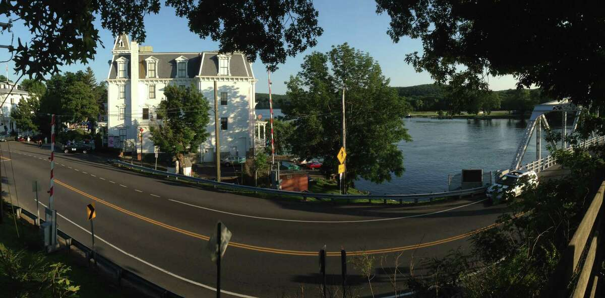 The bridge, river and iconic theater at Goodspeed in East Haddam.