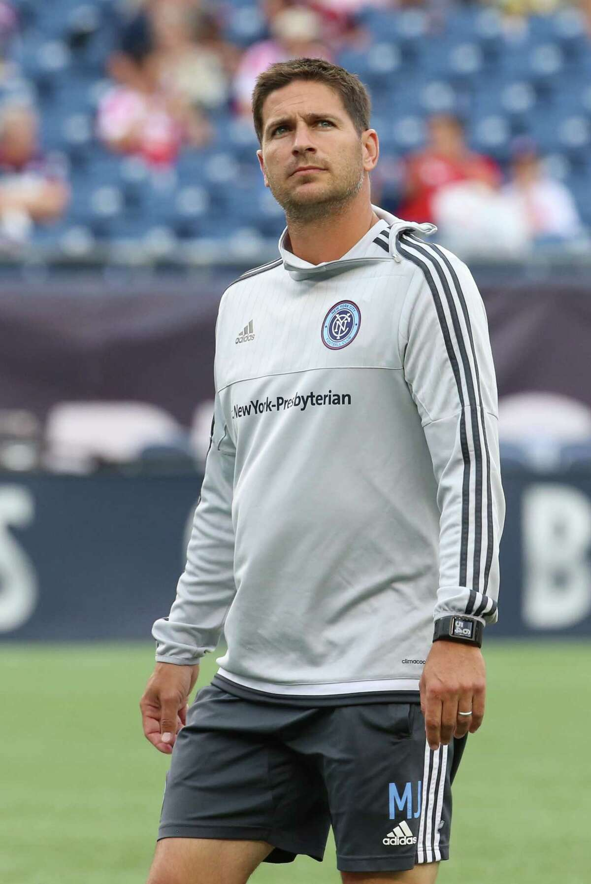 July 18, 2015: New York City FC Assistant Coach Miles Joseph. The New England Revolution defeated New York City FC 1-0 in a regular season MLS match at Gillette Stadium in Foxborough, Massachusetts.