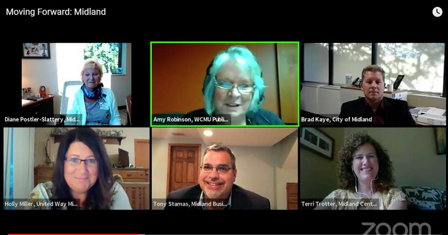 A variety of Midland leaders from different sectors met virtually Tuesday night, Aug. 11, to discuss how the community is moving forward amid the pandemic and post-flooding. (Screen photo)