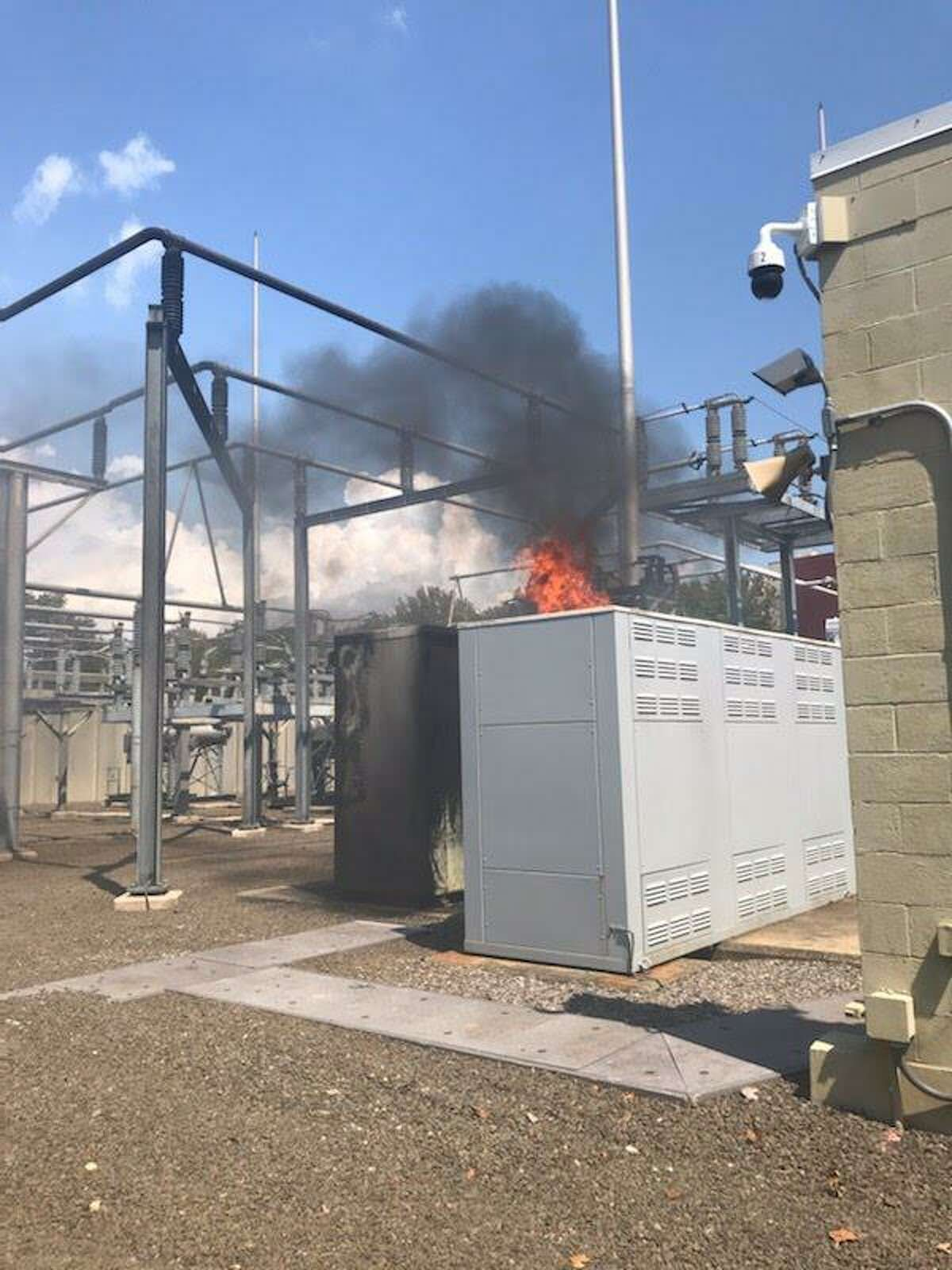 New Haven firefighters extinguished a blaze at the United Illuminating substation on Water Street Wednesday.