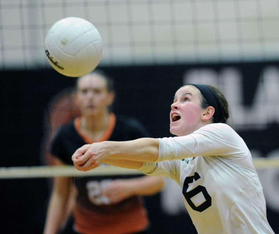 Trumbull's Sydney Adams, in action during the 2014 FCIAC volleyball tournament, is one of 161 candidates for the NCAA Woman of the Year honor. Photo: Bob Luckey / Bob Luckey / Greenwich Time