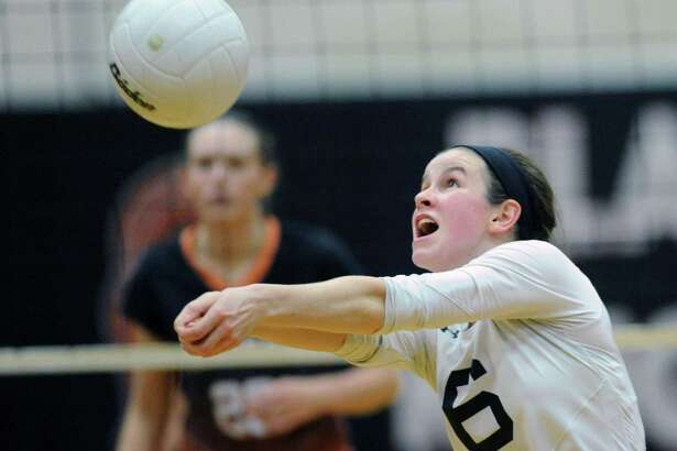 Trumbull's Sydney Adams, in action during the 2014 FCIAC volleyball tournament, is one of 161 candidates for the NCAA Woman of the Year honor.