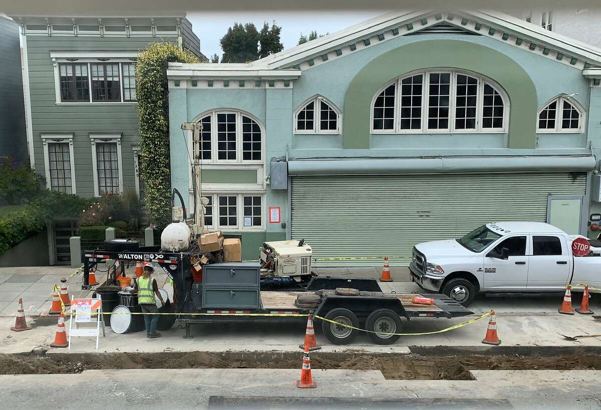 Laborers work at 1776 Green Street on Tuesday, August 11, 2020 in San Francisco, Calif. A Cow Hollow neighborhood group is contesting excavation work being done at 1776 Green Street saying that the city is not following state environmental law.
