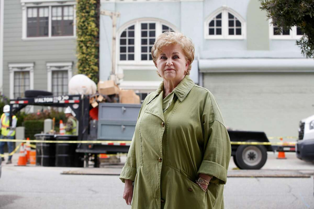 Anne Mackenzie, neighborhood resident, stands for a portrait across from 1776 Green Street on Tuesday, August 11, 2020 in San Francisco, Calif. A Cow Hollow neighborhood group is contesting excavation work being done at 1776 Green Street saying that the city is not following state environmental law.