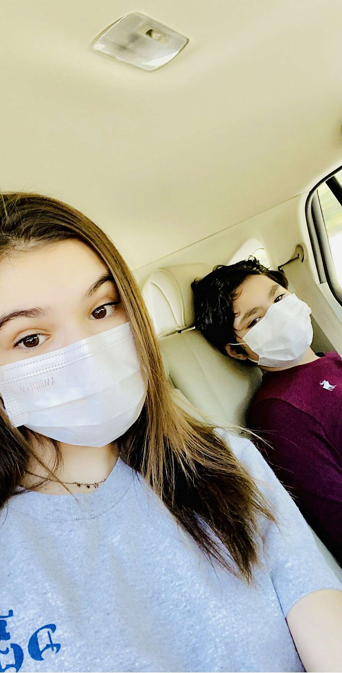 Natalia and Santiago Ruspini on the way to get tested for COVID-19 on April 30, a month after positive results for themselves, their parents, and their family. Their nanny and father were hospitalized but recovered. Natalia tested negative a day later, on May 1, Santiago on May 8.
