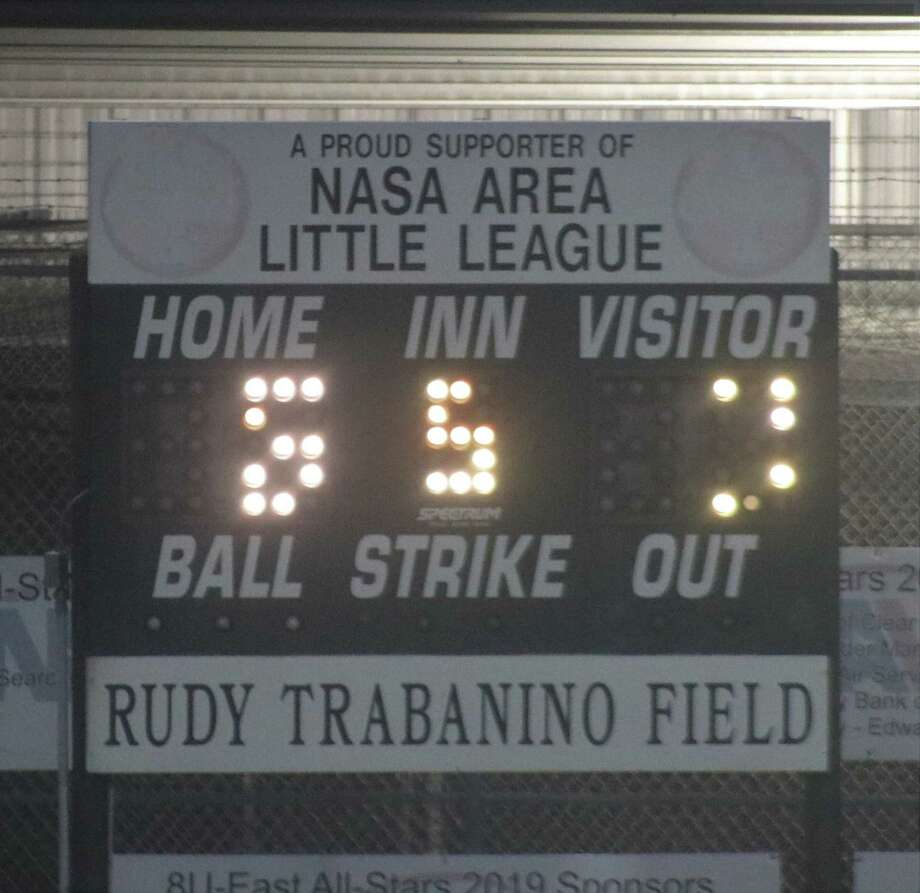 The ancient scoreboard at the Rudy Trabanino Field in Clear Lake presents a challenge to those trying to figure out the score and outs in a game. Photo: Robert Avery