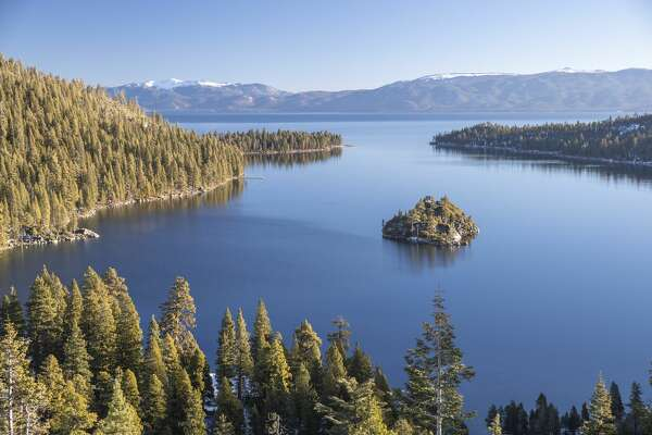 Emerald Bay at sunrise on Lake Thoe, South Lake, Tahoe, California. Canon 1DX Mark II
