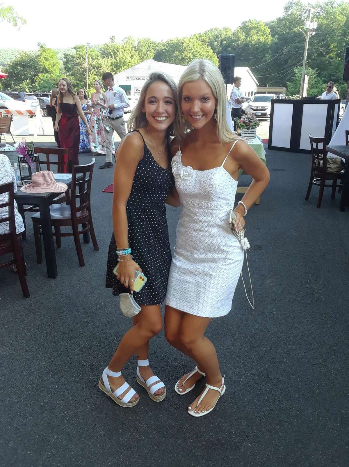 Lydia Bird and Courtney Hamm enjoy the party.