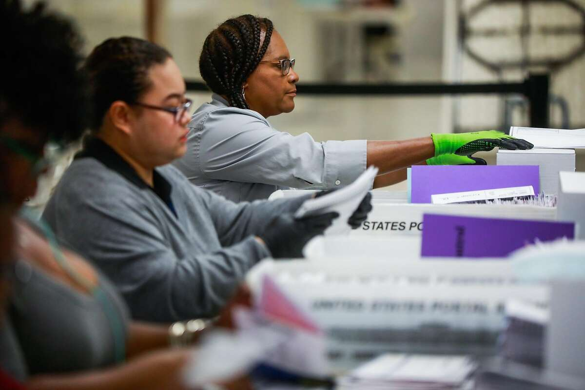 Sonia Tennille helps to organize and count absentee and mail-in ballots following the elections yesterday a the Department of Elections at City Hall in San Francisco, California, on Wednesday, Nov. 6, 2019.