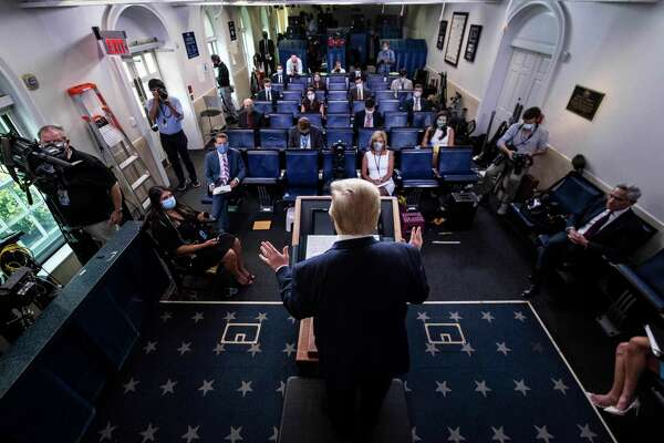 President Donald Trump speaks during a media briefing at the White House on Tuesday, Aug 11, 2020.